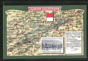 Künstler-AK Solothurn, Gesamtansicht mit Weisenstein und Aare, Landkarte mit Olten, Biel und Lützel