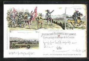 Lithographie Murten, Gesamtansicht, Karl der Kühne, Hallwylet les Confederes avant la bataille de Morat 1476