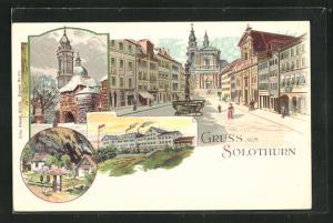 Lithographie Solothurn, Strassenpartie mit Brunnen, Ortspartien