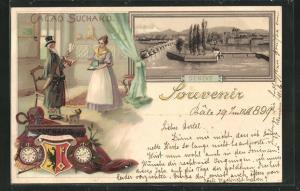 Lithographie Geneve / Genf, Reklame für Cacao Suchard, Ortsansicht mit Brücke, Wappen
