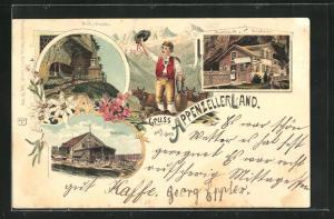 Lithographie Appenzell, Ebenalp, Gasthaus Wild-Kirchli, Milchbauer in Tracht