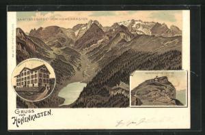 Lithographie Hohenkasten, Gasthaus Hohenkasten, Panorama vom Säntisgebirge