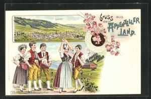 Lithographie Appenzell, Panorama, Männer und Frauen in Tracht bei einem Volkstanz