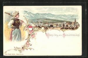 Lithographie Solothurn, Gesamtansicht im Passepartout mit Wappen, Dame in Tracht mit Harke