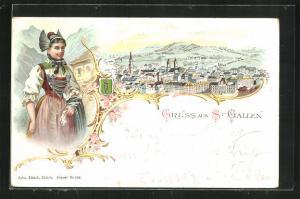 Lithographie St. Gallen, Gesamtansicht im Passepartout mit Wappen, Dame in Volkstracht