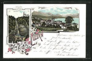 Lithographie Luzern, Bergbahn am Gütsch, Ortsansicht, Edelweiss