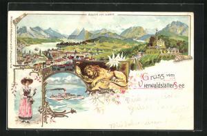 Lithographie Luzern, Löwendenkmal und Dampfer am Vierwaldstätter See, Dame in Tracht, Ortsansicht