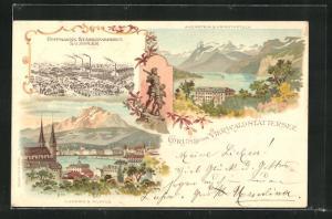 Lithographie Luzern, Hoffmanns Stärkefabriken Salzuflen, Axenstein und Urirothstock, Ortsansicht mit Pilatus