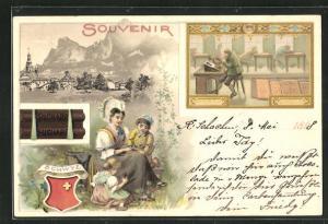 Lithographie Schwyz, Suchard Kakao, Mutter mit Kindern, Art Chretien