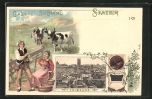 Lithographie Fribourg, Ortsansicht, Suchard Kakao, Kuhhirte und Frau, Wappen