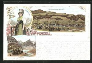 Lithographie Appenzell, Ortsansicht mit Kirche, Seealpsee, Appenzellerin in Tracht