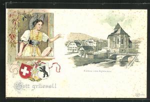 Präge-Lithographie Appenzell, Kirche von Appenzell, Appenzellerin in Tracht, Wappen