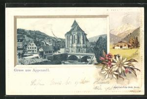 Präge-Lithographie Appenzell, Ortspartie mit Kirche und Brücke, Edelweiss