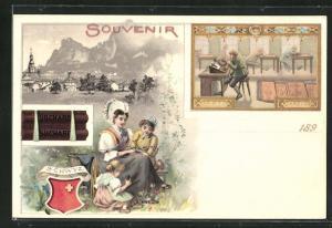 Lithographie Schwyz, Ortsansicht, Reklame für Cacao Suchard, Dame mit ihren Kindern in Tracht