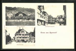 AK Appenzell, Postgebäude, Schmäuslemarkt, Landes-Relief