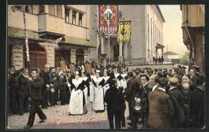 AK Appenzell, Ortspartie während einer Prozession