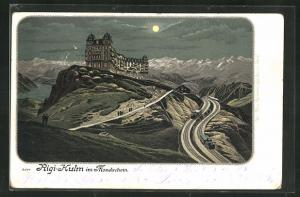 Mondschein-Lithographie Rigi-Kulm, Hotel Felchlin, Bergbahn und Gebirgspanorama
