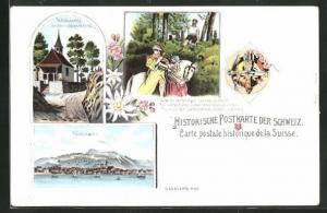 Lithographie Küssnacht, Tellskapelle an der hohlen Gasse, Reiter auf Pferd von Pfeil getroffen, Wappen