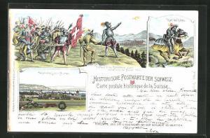 Lithographie Murten, Karl der Kühne, Hallwyl et le Confederes avant la bataille de Morat 1476
