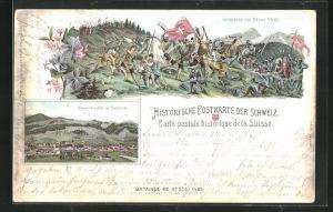 Lithographie Appenzell, Schlacht am Stoss 1405