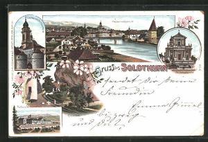 Lithographie Solothurn, Kurhaus-Weissenstein, Einsiedelei, Eichthor mit St. Ursusthurm, St. Ursuskirche