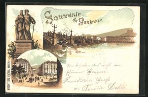 Lithographie Geneve, Blick auf Brücke mit Möwen über dem Wasser, Strassenansicht mit Strassenbahn, Denkmal