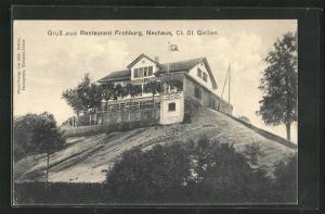 AK Neuhaus / St. Gallen, Restaurant Frohburg, Blick auf den Hügel