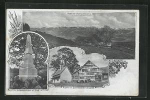 AK Stoss, Kapelle mit Sommerwirtschaft Stoss, Schlachtdenkmal am Stoss, Alpenpanorama