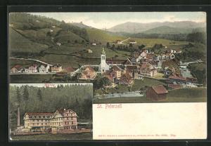 AK St. Peterzell, Blick auf die Mühle, Ortsansicht aus der Vogelschau