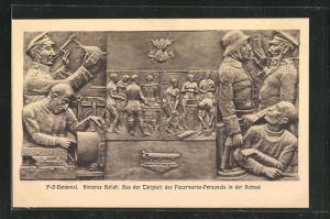 AK Berlin, Enthüllung des Feuerwerkerdenkmals an der Invalidenstrasse, Oktober 1925, Feuerwerks-Personal im Feld
