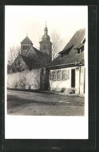 AK Erfurt, Strassenpartie an der Reglermauer, Reglerkirche