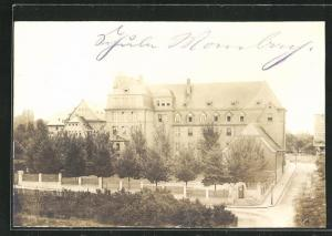 Foto-AK Mainz-Mombach, Blick auf die Schule