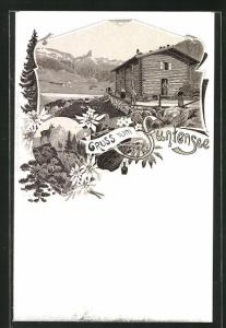 Lithographie Berghütte am Funtensee, Blick auf den See