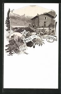 Lithographie Berghütte am Funtensee, Blick auf den See und die Berge