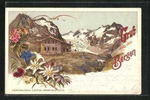 Lithographie Neustift, Blick auf die Franz-Senn-Hütte