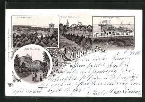 Lithographie Zinnowitz, Hotel Glienberg, Hotel Belvedere, Landungsbrücke