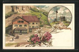 Lithographie Berghütte Wendelsteinhaus, Gipfelkreuz auf dem Wendelstein