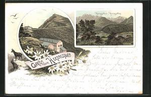 Lithographie Berghütte am Herzogstand, Herzogstand und Heimgarten