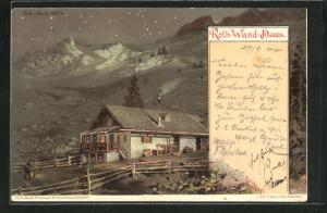 Lithographie Rothwandhaus bei Nacht betrachtet