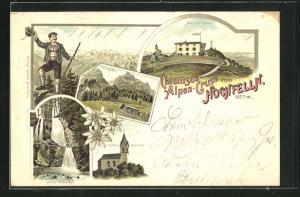 Lithographie Hochfelln, Blick auf das Hochfelln-Haus, Brünling Alm, Unterer Wasserfall