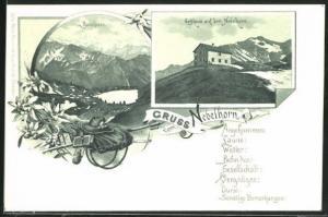 Lithographie Gasthaus auf dem Nebelhorn, Blick auf den Seealpsee