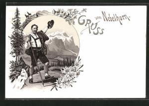 Lithographie Älpler bei der Berghütte auf dem Nebelhorn