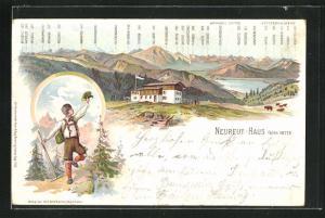Lithographie Berghütte Neureut-Haus und Alpen-Panorama