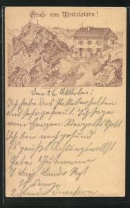 Lithographie Unterkunftshaus am Wendelstein, Verlag Franz Scheiner Würzburg