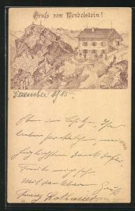Lithographie Unterkunfts-Haus am Wendelstein, Verlag Franz Scheiner Würzburg