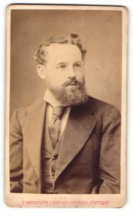 Fotografie F. Brandseph, Stuttgart, Portrait junger Herr mit Vollbart