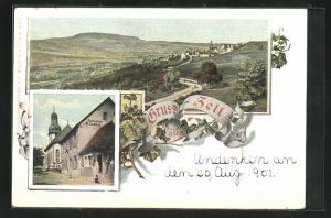 AK Zell / Pfalz, Restaurant von H. Ludwig, Panoramablick auf Dorf und Umgebung