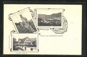 AK Oberhausen, Gasthof zum Hirsch, Blick auf das Schloss
