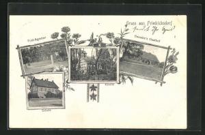 AK Friedrichsdorf / Neumark, Boemke`s Gasthof, Schule, Post-Agentur