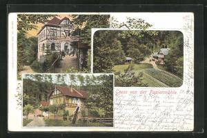 AK Schmölln, Restaurant zur Rabsburg, Ansichten der Papiermühle